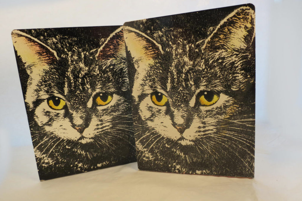 Mid Century 50's Pair of Piero Fornasetti Cat Face Bookends