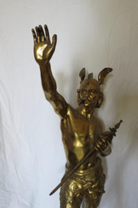 "Antique Signed Laporte Hermes French Gilt & Patinated Warrior 30"" Tall"