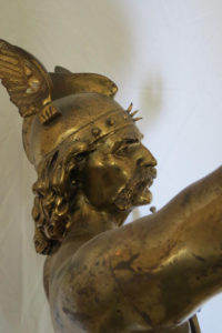 """Antique Signed Laporte Hermes French Gilt & Patinated Warrior 30"""" Tall"""